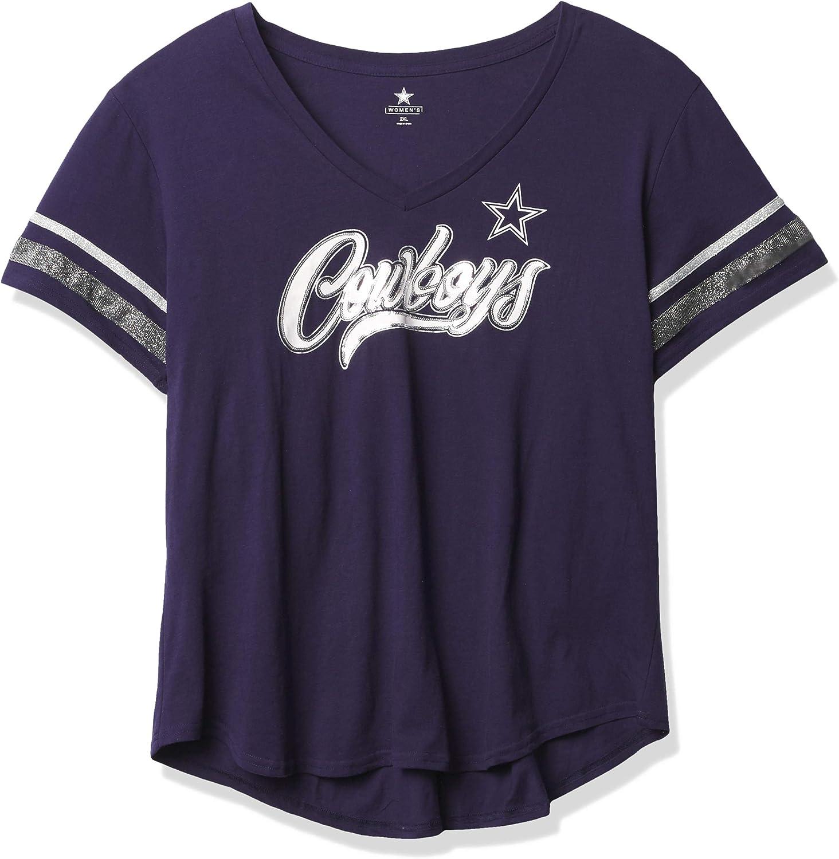 Dallas Cowboys Women's New mail order Miko Sleeve Short T-Shirt Max 90% OFF