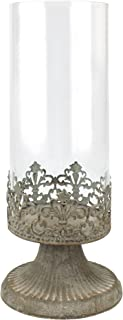 Stonebriar Fleur de Lis Hurricane Candle Holder, Large, White
