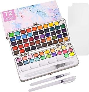 ZITFRI 72 Couleurs Peinture Aquarelle Palette - 20 Couleurs Aquarelle Métallique Métallisée 50 Couleurs Classiques 2 Fluor...