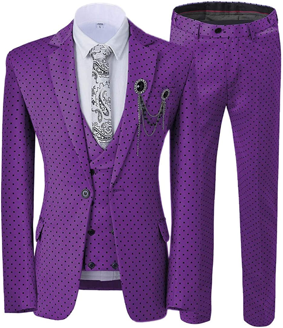 ToonySume Casual Men's Suits Slim Fit 3 Piece Prom Tuxedos Square Pattern Business Suit Wedding Grooms(40,Purple)