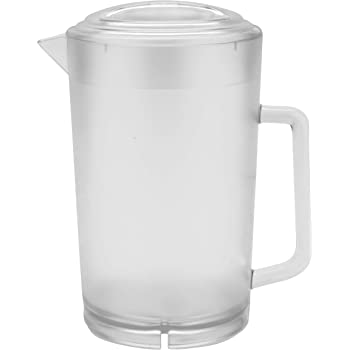 GET P-3064-1-CL-EC BPA-Free Textured Scratch-Resistant Plastic Pitcher with Lid, 2 Quart (64 Ounce), Clear