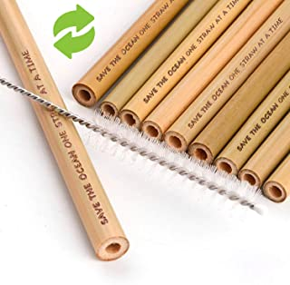Bamboo Straws with Bag and Cleaning Brush - Pack of 10 Biodegradable Straws - Environment Friendly Reusable Drinking Straws - Save the Ocean