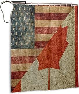 NTQFY Vintage American Canada Flag Shower Curtain 60