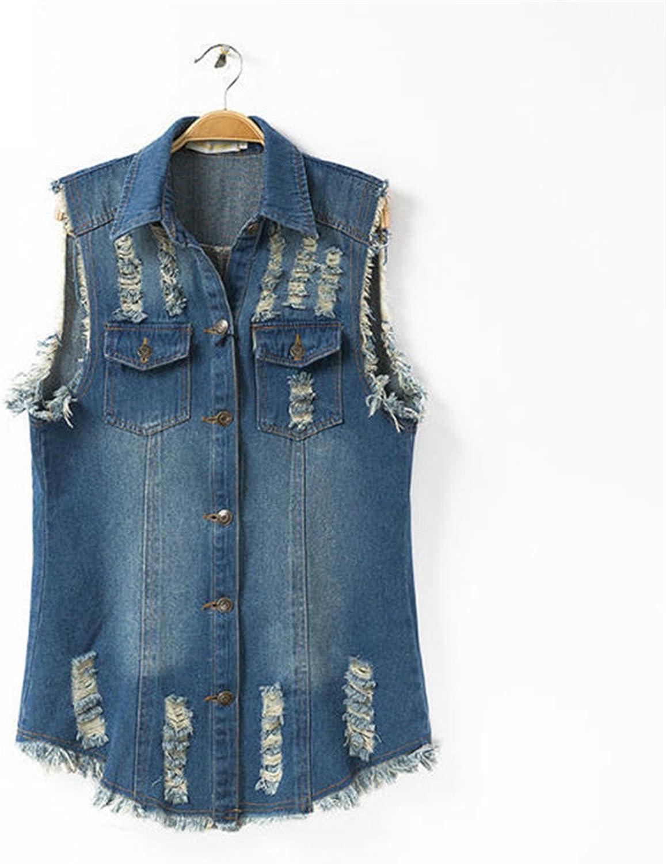Caseminsto Womens Denim Vests 2017 Autumn Sleeveless Ripped Holes Button Fashion Jeans Vest Tops