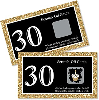 Big Dot of Happiness Adult 30th Birthday - Gold - Birthday Party Game Scratch Off Cards - 22 Count