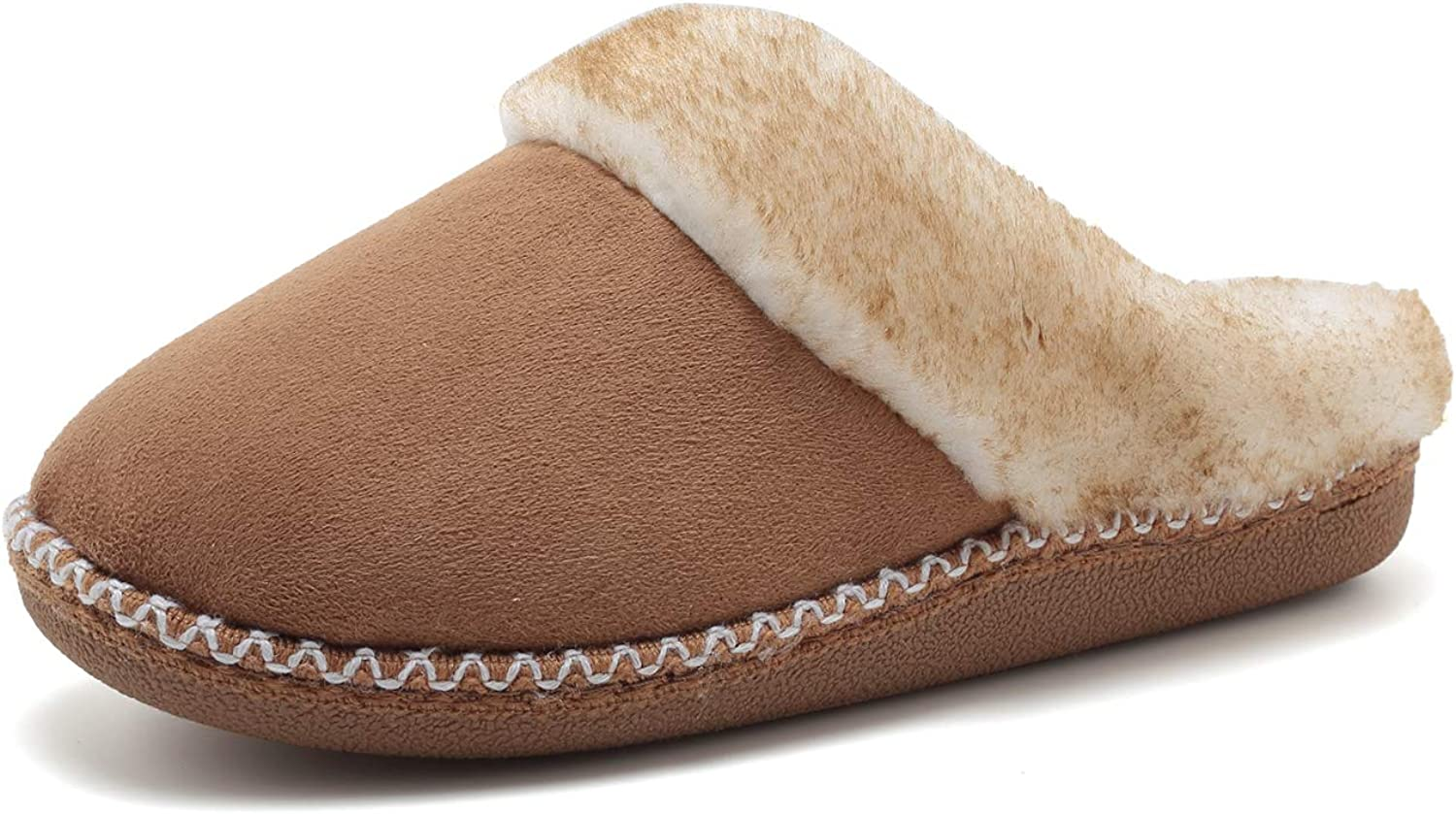 FANTURE Women's House Slippers Micro Suede Faux Fur Lined Indoor & Outdoor Slip On House shoes-U418WMT016-tan-40.41
