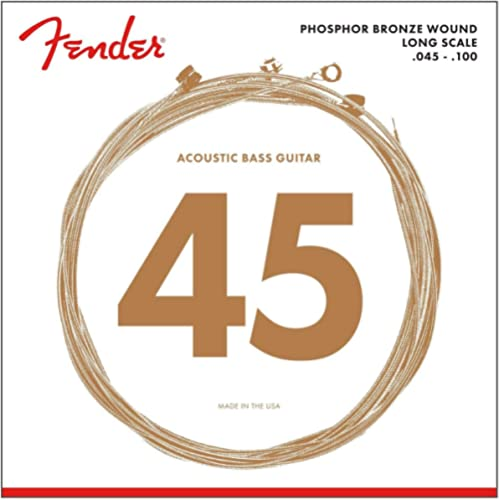 """Fender 8060 Jeu de cordes pour basse acoustique - (045/100) 34"""" Long Scale - Bronze Phosphoreux"""