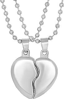 Morir Silver Plated Broken Heart Couple Heart Shape Break Apart 2 Pcs Valentines Day Gifts Fashion Chain Pendant Locket Ne...