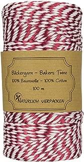 100 m Verschenken Basteln Schnur zum Dekorieren B/äckergarn Burgunder metallic und Wei/ß 100/% Baumwolle zweifarbige Deko Kordel