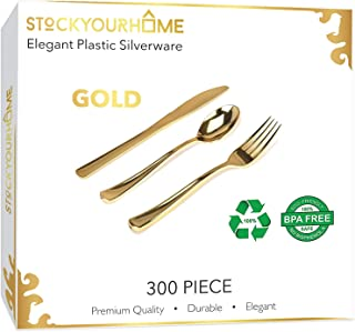 300 Plastic Silverware Set, Gold Plastic Cutlery Set, Gold Party Utensils – 100 Gold Plastic Forks, 100 Gold Plastic Spoons, 100 Gold Plastic Knives
