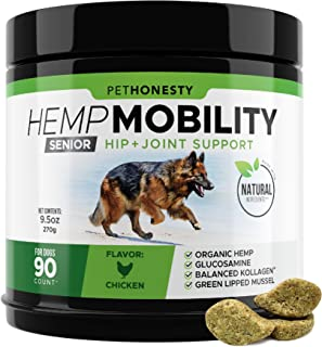 Senior Hemp Mobility - Hip & Joint Supplement for Senior Dogs - with Hemp Oil & Hemp Powder, Glucosamine, Collagen, MSM, G...