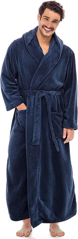 Alimens & Gentle Men's Hooded Fleece Bathrobe, Full Length Warm Plush Robes