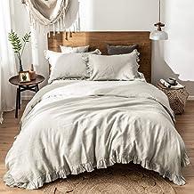 مجموعة غطاء لحاف من الكتان المغسول بنسبة 100% من Simple &Opulence مقاس King - 3 قطع من أغطية السرير الفاخرة المكشكش الأنيق...