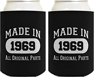 50th Birthday Gift Coolie Made 1969 Can Coolers Coolies 2 Pack Black