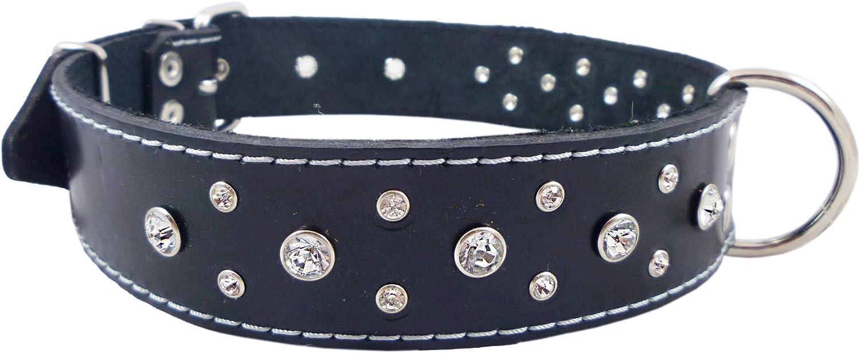 Genuine Black Leather Rhinestone Dog Collar 1.5 x25  Fits 17 22  Neck