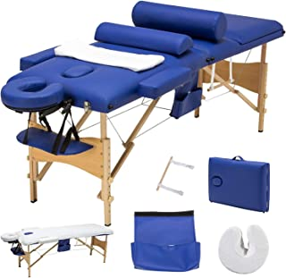 Uenjoy Folding Massage Table 84`` Professional Massage Bed Luxury-Model With Additional Accessories 3 Fold, Blue