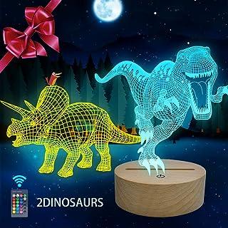 Huaker 3D Dinosaur Night Light for Kids, 3D Illusion Lamp...