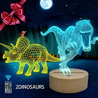 Huaker 3D Dinosaur Night Light for Kids, 3D Illusion Lamp...