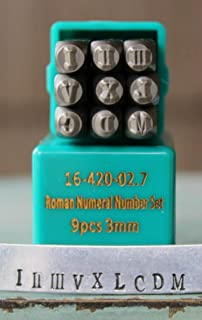 Supply Guy 3mm Roman Numeral 12 Piece Metal Punch Design Stamp Set CH-Roman3mm