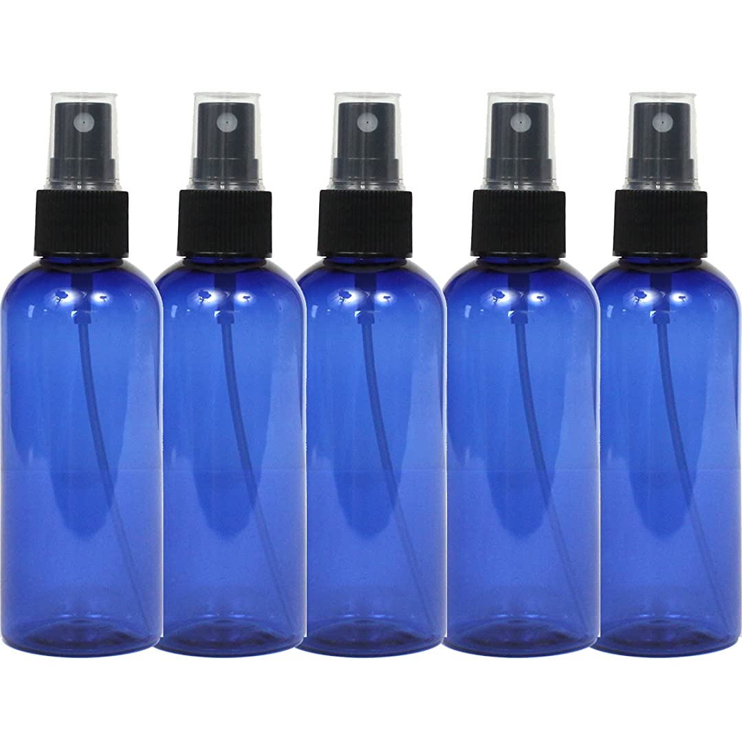 スプレーボトル 100mL ブルー黒ヘッド5本セット遮光性青色 おしゃれペットボトル空容器bu100bk5