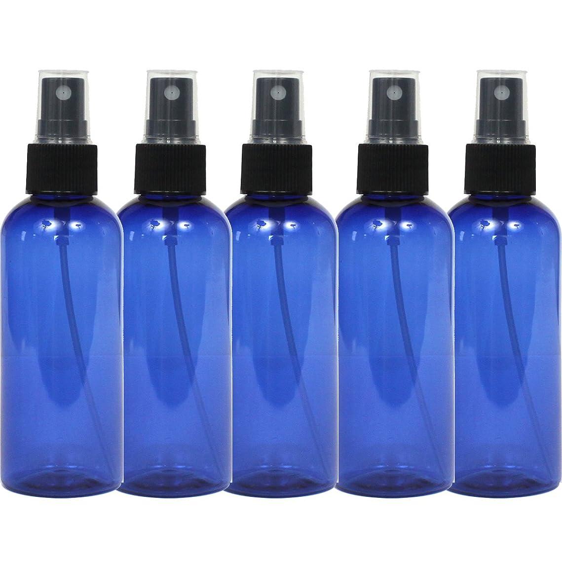 アシスト奨励読むスプレーボトル 100mL ブルー黒ヘッド5本セット遮光性青色 おしゃれペットボトル空容器bu100bk5