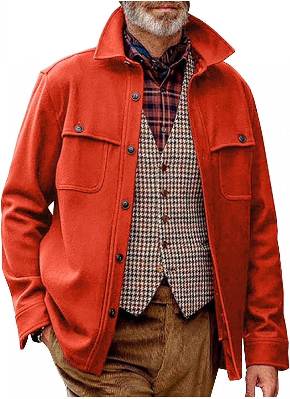 Kuokuo Men's Solid Woolen Jackets Lapel Collar Button Down Winter Warm Jacket Fleece Classic Retro Loose Fit Casual Coat