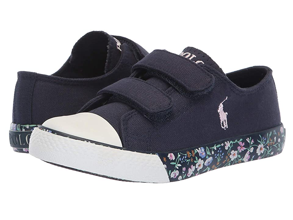 Polo Ralph Lauren Kids Slone EZ (Little Kid) (Navy Canvas/Navy/Multi Floral/Light Pink Pony) Girl