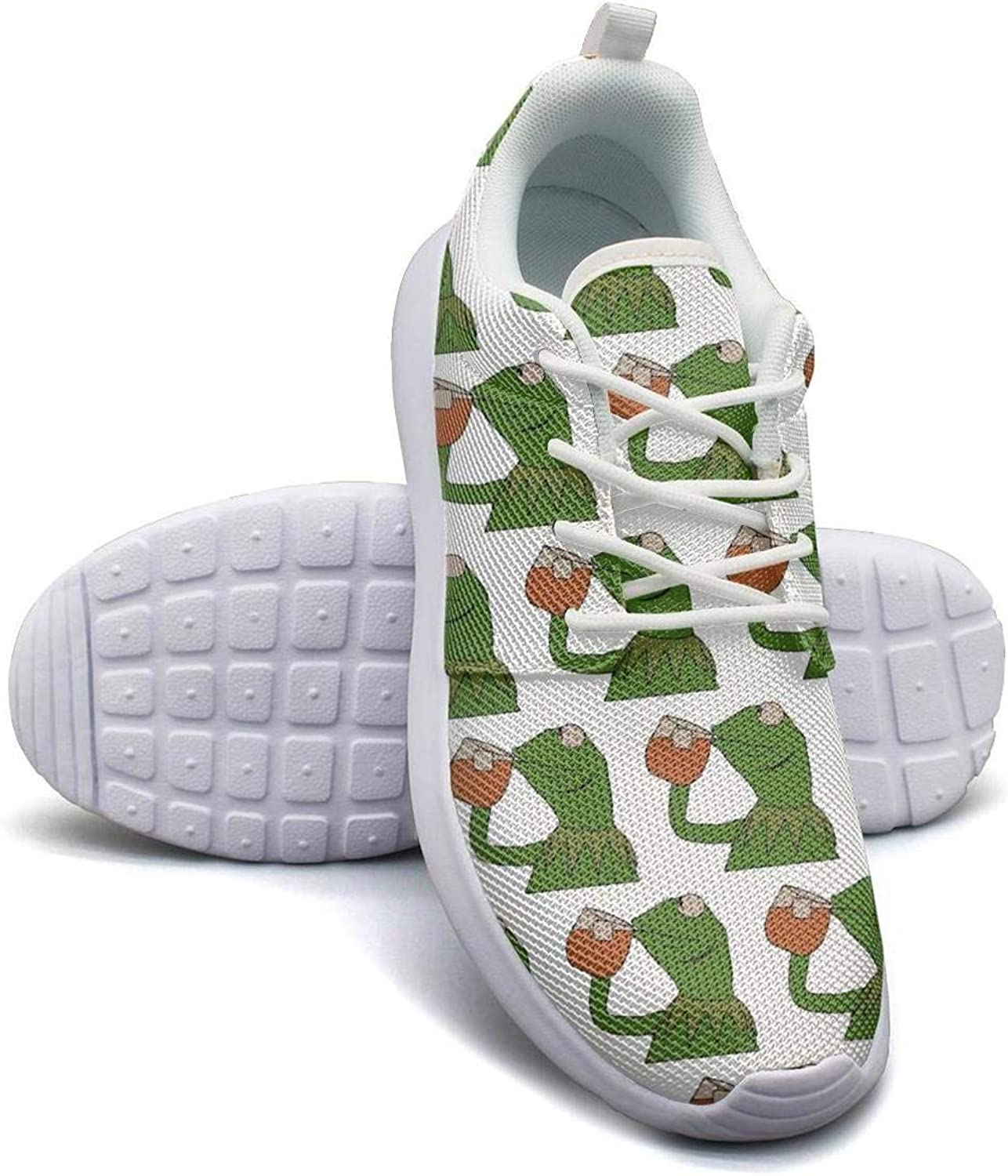 YAHTSAG Womens Roshe One Two Lightweight Funny Green Frog Sipping Tea Stylish Road Running Mesh shoes