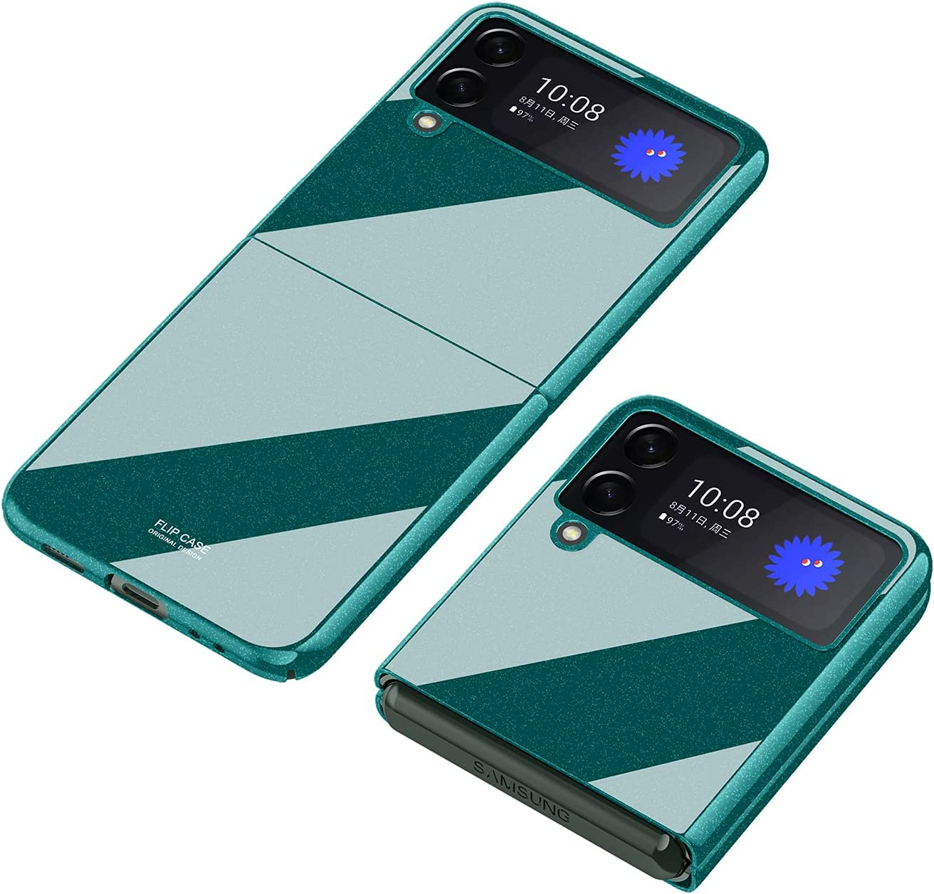SHBDZGS for Samsung Galaxy Z Flip 3 Case Luxury Plastic Plating Crystal Shockproof Protection Finish Bumper Cover Case for Samsung Galaxy Z Flip 3 5G (Green)