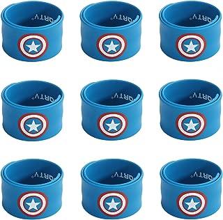 Ecparty Superhero Slap Bracelet for Kids Boys & Girls Birthday Party Supplies Favors (9 Pack) (The Captain)