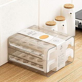 YOTH Boîte de rangement pour œufs - Organisateur de cuisine rectangulaire - Double tiroir - Plastique transparent - 24 x 2...