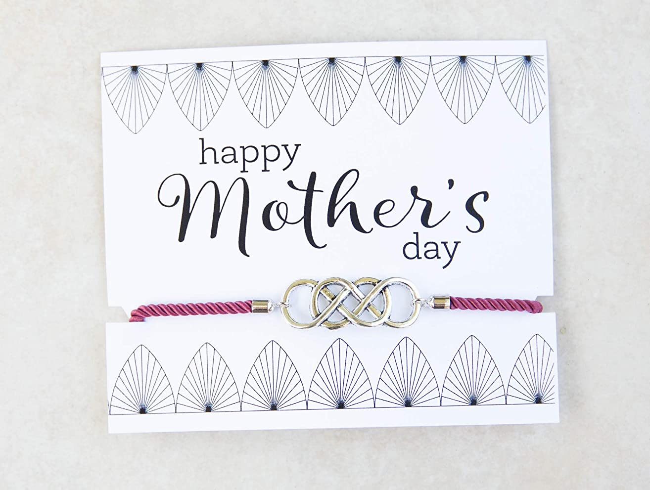 Mother's Day Bolo Silver-tone Double Infinity Slide Bracelet Dusty Pink Inspirational Gift