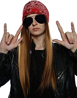 90's Rocker Costume Wig 3pc Set + Bandana + Sunglasses Mens 80s Rockstar Wigs