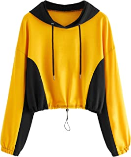 SweatyRocks Women's Long Sleeve Hoodie Sweatshirt Colorblock Tie Dye Print Pullover Shirt Blouse Blue Ombre