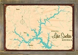 Lake Sinclair Georgia Vintage-Style Map Rustic Metal Print on Reclaimed Barn Wood by Lakebound (12