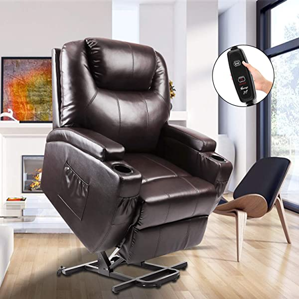 Power Lift Recliner Fitnessclub Electric Massage Recliner Sofa Full Body Zero Gravity Leather Lazy Boy Recliner With Remote Controller For Elderly Father And Mother Brown