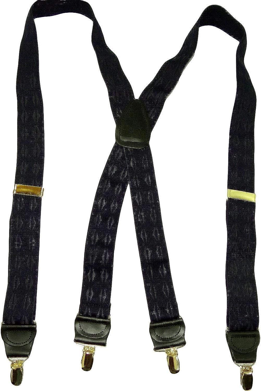 Holdup Jacquard Series Elddis Reverse Diamond pattern Black on Black Jacquard X-back Suspenders with Gold No-slip Clips