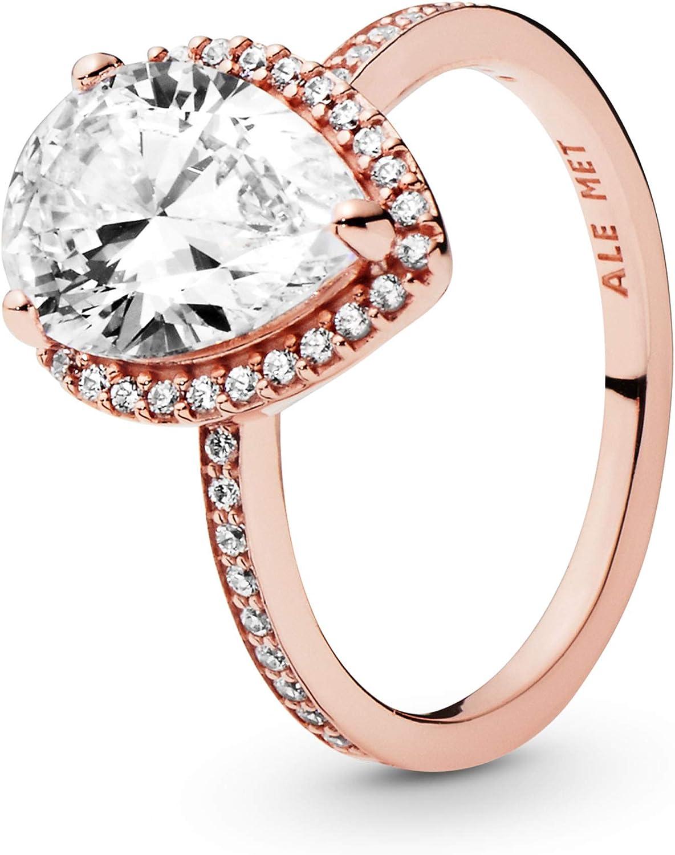 Pandora Jewelry Sparkling Teardrop Halo Cubic Zirconia Ring in Pandora Rose