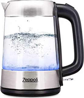 Zeppoli Electric Kettle - Glass Tea Kettle (1.7L) Fast Boiling and Cordless, Stainless Steel Finish Hot Water Kettle - Hot...