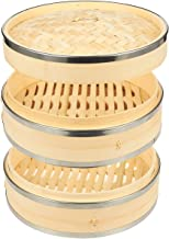 Juvale Bamboo Steamer Basket - 2-Tier Dim Sum Bamboo Steamer with Steel Rings for Cooking, 10 x 6.7 x 10 Inches