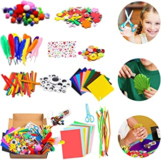 1000Pcs DIY Art Craft Kit for Kid Handmade Supplies Kit Project Scrapbook Craft Kit Flash Pompoms, Feathers, Buttons, Chil...