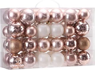 Sea Team 48 Pieces of Assorted Christmas Ball Ornaments Shatterproof Seasonal Decorative Hanging Baubles Set with Reusable Hand-held Gift Package for Holiday Xmas Tree Decorations, Rose Gold