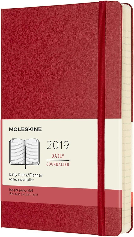 Moleskine Tageskalender, Taschenkalender, 12 Monate, 2019, Large, A5, Hard Cover, Scharlachrot B076BJF6Z7 | Moderater Preis