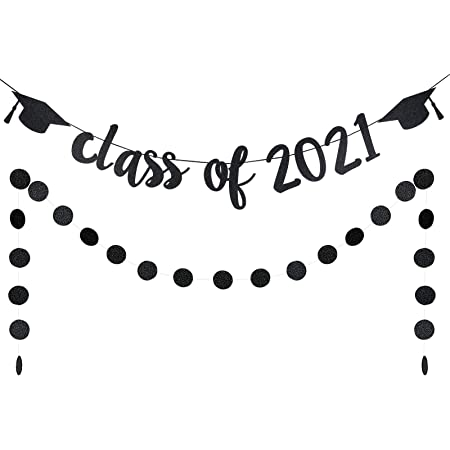 Black Glitter Class of 2020 Banner Graduation Garland for Ceremony Graduation Grad Party Decorations Supplies Graduation Banner Graduation Decorations