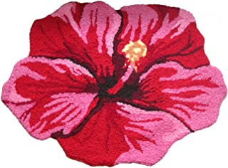 Morden Handmade Needlepoint Floor Rug Red Bathmat Flower Rug Girls Bedroom Non-Slip Rugs, Great Gift for Christmas (Hibiscus)