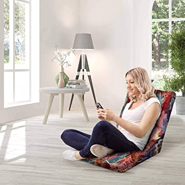 Floor Lounger Adjustable Floor Chair Paisley Floral Pattern Colorful Backdrop with Indian Memory Foam Folding Floor Sofa Loun