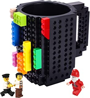 Triumphic Build-on Brick Mugs,with 3 packs of Blocks,Latest Version,Creative DIY Building Blocks Cups for Coffee Water Juice,BPA-free Plastic,Unique Funny Cup,Puzzle Mug,Novelty Gifts for Adults,Black