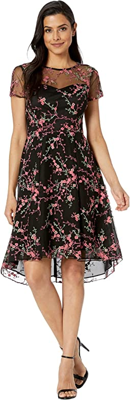 Trailing Blossoms Embroidered High-Low Fit and Flare Dress