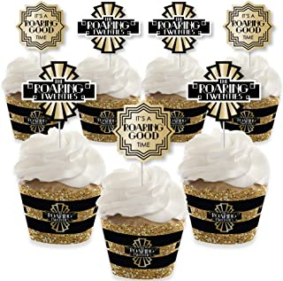 Roaring 20's - Cupcake Decoration - 1920s Art Deco Jazz Party Cupcake Wrappers and Treat Picks Kit - 2020 New Year's Eve Party - Set of 24