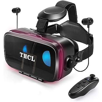 [進化型VRゴーグル] VRヘッドセット アンチブルーレンズ 高音質ヘッドホン付き 3D ゲーム 映画 動画 「技適認証済」調節可 4.7~6.5インチスマホ対応 ワンクリック受話 スマホVR 近視/遠視適用 120°視野角 放熱性よい Bluetoothリモコン&日本語取扱説明書 付属